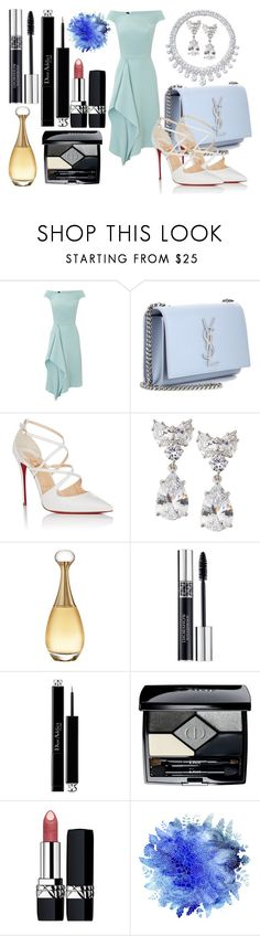 """Blue"" by goldelina on Polyvore featuring мода, Roland Mouret, Yves Saint Laurent, Christian Louboutin, Harry Winston, Fantasia by DeSerio и Christian Dior"