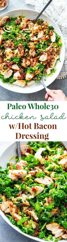This kale salad is packed to the max with goodies! Kale is tossed with shredded Brussels sprouts, lots of sweet caramelized onions, crispy bacon and grilled chicken plus a super tasty hot bacon dressing - dairy free and paleo with both and keto options. Dairy Free Salads, Dairy Free Pizza, Dairy Free Recipes, Paleo Recipes, Soup Recipes, Recipes Dinner, Bacon Recipes, Lunch Recipes, Paleo Pizza