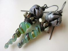 Old Order, Old Ceremonies - sci-fi primitive long spiral aqua green horn lampwork glass, pyrite, silver polymer clay bead, & copper earring by LoveRoot, $59.00