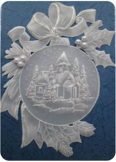 T T church in circle bow on top and holly white work love the pearls Vellum Crafts, Parchment Design, Brush Embroidery, Parchment Cards, Theme Noel, Paper Artwork, Fancy Fold Cards, Embossed Cards, Card Patterns