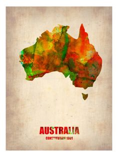 Trademark Fine Art Australia Watercolor Map Canvas Art by Naxart, Size: 35 x Multicolor Map Canvas, Canvas Wall Art, Canvas Prints, Canvas Size, Framed Maps, Framed Art Prints, Art Carte, Watercolor Map, Map Art