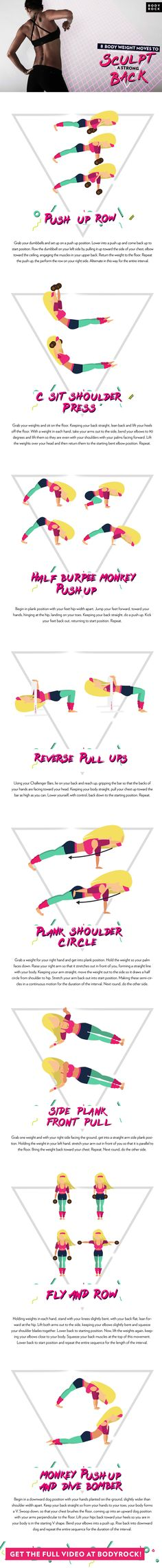 Here are 8 bodyweight moves to sculpt a strong back! Add this routine to your workout to get that strong sculpted back!