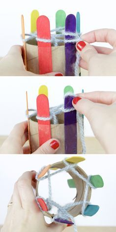 Good idea, but need to polish these sticks, so knitting goes smoothly - How-to: DIY a Knitting Loom & Knit With It | Hands Occupied