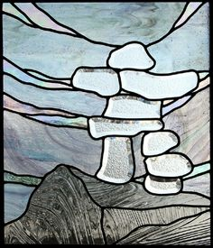 "Verre biseauté ""Inuksuk"" c - Diy Decora la Maison Faux Stained Glass, Stained Glass Panels, Stained Glass Projects, Stained Glass Patterns, Modern Stained Glass, Beveled Glass, Mosaic Glass, Fused Glass, Mosaic Art"
