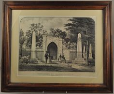 Original Currier & Ives Hand Colored Lithograph Tomb of Washington, $250