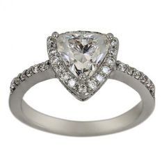 White Sapphire Engagement Ring Set With Diamonds And Triilion White Sapphire
