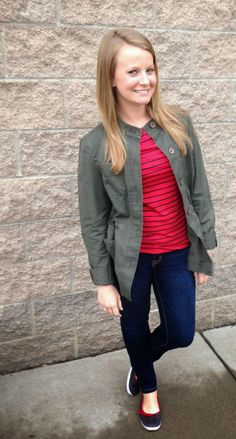 Sweet Bananie - transitional dressing, part 2. green utility jacket, red striped tee, dark skinny jeans & navy fruit-print flats