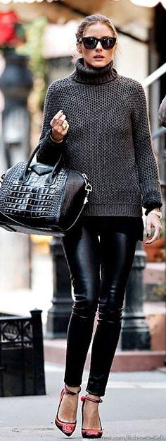 Olivia Palermo, black snakeskin bag