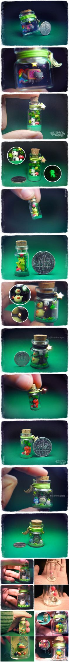 I never would have thought to make a little scene in a jar. Great for younger kids who can put it on their shelf to look at