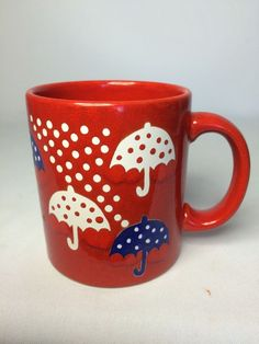 Waechtersbach West Germany- Red Coffee Cup With Umbrellas