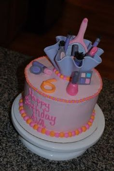 little girl spa party supplies   Youre Never to Young... {Spa Party Makeup Bag Cake}   A Little ...