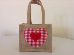 Gorgeous Gingham Heart Decorated Jute Gift Bag by BellaandRoo