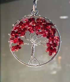 New! Fiery Red Garnet Chakra Tree of Life wire wrap Pendant! – Cast a Stone