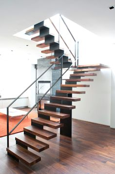 Stair at Carlson Residence NYC Timber Staircase, Floating Staircase, Staircase Design, Steel Stairs, Loft Stairs, House Stairs, Outdoor Stairs, Modern Stairs, Stairway To Heaven