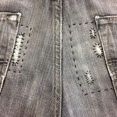 darnanddusted (Darn and Dusted - London) Boro Stitching, Salopette Jeans, Visible Mending, Make Do And Mend, Sashiko Embroidery, Patched Jeans, Japanese Textiles, Recycled Denim, Darning