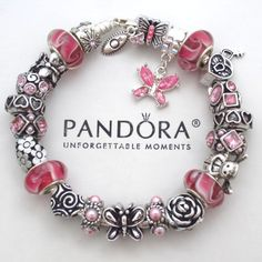 Authentic Pandora Silver Bracelet with Pink Butterfly Heart Charm Beads Box New #PandoraBracelet #European