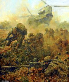 Emotive works of art created by the Royal Marines official War Artist capture…