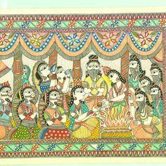 Buy An Epic Of Thousand Lines. Madhubani's Ramayana painting online - the original artwork by artist Unknown Artist, exclusively available at Mojarto only. Om Namah Shivaya, Madhubani Art, Madhubani Painting, Traditional Paintings, Traditional Art, Ramayana Story, King Ravana, Beautiful Mehndi Design, Indian Folk Art