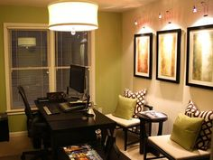 I love this look for my guest room/office.  I'm committed to the green accent wall and dark brown furniture, but I'm debating whether to go with cream or gray as the main color.