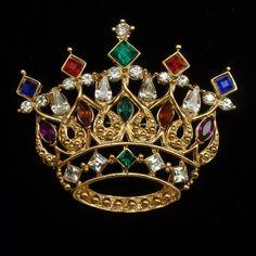 Crown Brooch Pin Vintage Multi-Colored Rhinestones