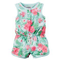 Baby Girl Carter's Floral Henley Romper, Size: Newborn, Turquoise/Blue (Turq/Aqua)