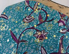 African Wax Print Fabric--Ankara Fabric--Osikani--Turquoise with Magenta & White Vines--Gold Print Overlay--African Fabric by the HALF YARD