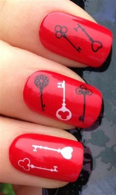 NiceDeco  nail stickers nail tattoo nail deacl water transfers decals black  white old fashioned door keys ** You can find more details by visiting the image link. Note:It is Affiliate Link to Amazon.