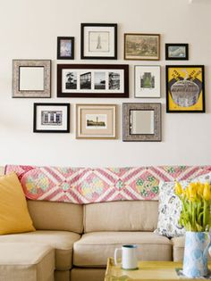 Wall collage ideas on pinterest couch galleries and photo collages - Wall collage ideas living room ...