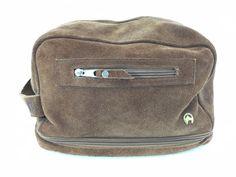 Jockey Club Rosario Brown Suede Toiletry Travel Dopp Kit Bag Quilted Lining #JockeyClubRosario
