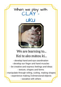 A set of printable posters/handouts documenting the learning children do and learn when engaged in different areas of play. Designed especially for Playcentres, but suitable to any early education centres, kindergartens, and primary schools, as well as homeschools. May be printed out and displayed ...