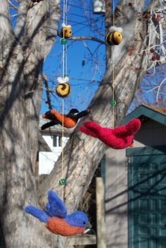 Feels like Spring! Cardinal, bluebird and oriole - needle felted