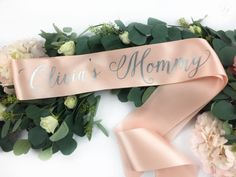 Customize this premium satin sash with your own colors. Wording reads (name)s Mommy Great for gender reveals, baby showers, and maternity photoshoots! PICTURED: Apricot Blush Sash with Metallic Silver Wording PRODUCT INFO: - ____s Mommy sash - For variations, please see our shop or