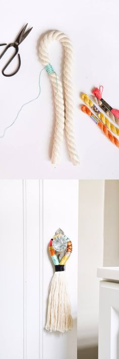 Tirador decorativo para puerta - sugarandcloth.com - DIY Door Handle Tassels
