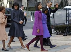 For Inauguration Day, Michelle Obama wore a Thom Browne coat and dress with a Reed Krakoff cardigan and J.Crew pumps, Sasha wore a Kate Spade coat, while her older sister Malia wore a purple J. Malia Obama, Barack Obama, Obama President, Thom Browne, Michelle Obama, Inauguration Ceremony, Presidential Inauguration, Obama Daughter, Presidente Obama