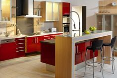 How to Personalize Kitchen Design and Create Modern Kitchen Interiors Galley Kitchen Design, Kitchen Tiles, Kitchen Colors, Kitchen Brick, Red And White Kitchen, Modern Kitchen Island, Modern Kitchen Interiors, Contemporary Kitchen Design, Space Saving Kitchen