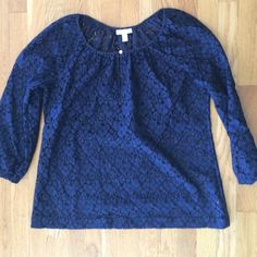 Charter Club blouse All Navy, not shear but need Cami underneath. Cotton and nylon. Length is 26. Roomy. Charter Club Tops Blouses