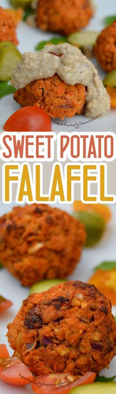 This Sweet Potato Falafel is a delicious twist on a classic. The sweet potato, lemon zest and raisins give this falafel a unique… Sweet Potato Recipes, Veggie Recipes, Gluten Free Recipes, Vegan Gluten Free, Vegetarian Recipes, Cooking Recipes, Healthy Recipes, Recipes Dinner, Breakfast Recipes