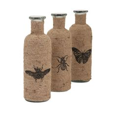 Jute-Wrapped Insect Bottles (Set of 3)