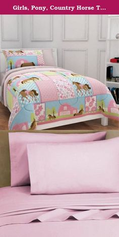 Girls, Pony, Country Horse Twin Comforter, Sheets & Sham Set (5 Piece Bed In A Bag). Every little girl loves ponies. The Pony bedding set is perfect for darling little girls who have always wanted a pony of their own. Reversible Comforter features images of horses on one side and cute pink & white polka dots on the reverse side. The set includes: 1- TWIN Size Comforter, 1- Flat Sheet, 1- Fitted Sheet, 1- Pillowcase & 1- Sham.