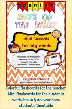 #flashcards and #worksheets to teach the days of the week in #spanish - #TpT #minilessonsforbigminds
