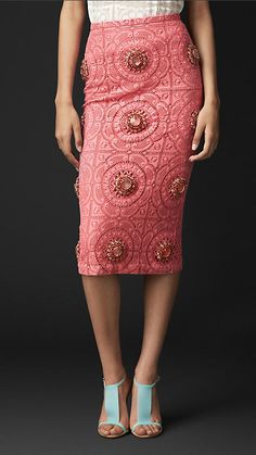 Inglese lace skirt decorated with stones | Burberry