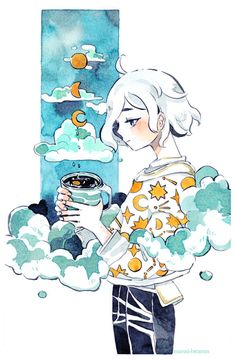 Art is Nice Art Anime, Anime Art Girl, Watercolor Drawing, Watercolor Illustration, Character Art, Character Design, Cute Art Styles, Wow Art, Kawaii Art