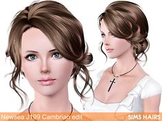Free Sims 3 Hairs download - Newsea's J199 Cambrian hairstyle retextured. Combined textures plus mixed color controls and specular. All the credit for mesh go to Newsea Sims 3, you can