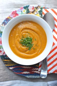Creamy Sweet Potato Soup is a lightened-up, cream-free, vegan version of this fall favorite! | TheCornerKitchenBlog.com #soup