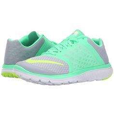Nike FS Lite Run 3 (Wolf Grey/Green Glow/White/Ghost Green) Women's... ($75) ❤ liked on Polyvore featuring shoes, athletic shoes, sneakers, tennis shoes, green tennis shoes, grey running shoes, nike shoes, nike athletic shoes and green athletic shoes