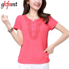 gkfnmt 2017 Summer Style Tops Cotton Linen Vintage Short Sleeve White Red T Shirt Women big Size Lace Poleras De Mujer XXL #Affiliate