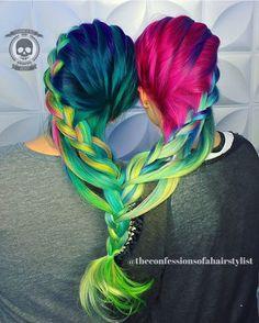 Fantasy hair color with beautiful braiding Mint Hair, Neon Hair, Purple Hair, Fantasy Hair Color, Two Toned Hair, Beautiful Hair Color, Hair Colorist, Rainbow Hair, Great Hair