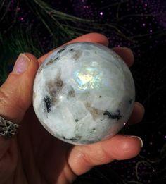 RARE Flashy rainbow Moonstone Sphere by LunaBlueBoutique on Etsy, $118.00