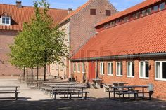 Stock image of 'Commune in one of the streets in the village Ribe in Denmark in the summer.'