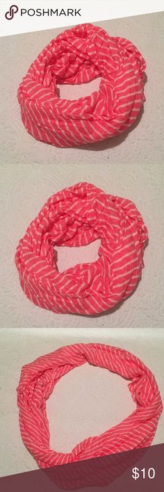 🌷SUPER CUTE PINK/WHITE STRIPED SCARF🌷 🌷SUPER CUTE PINK/WHITE STRIPED INFINITY SCARF 🌷 in great condition! ‼️open to offers ‼️ Accessories Scarves & Wraps